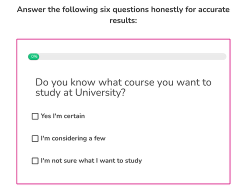 quiz for higher education lead generation