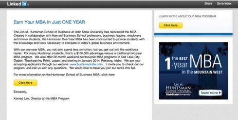 MBA LinkedIn ads