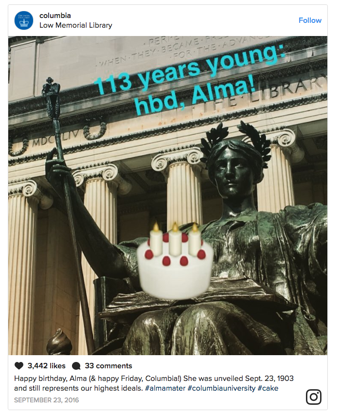 Instagram post by Columbia University