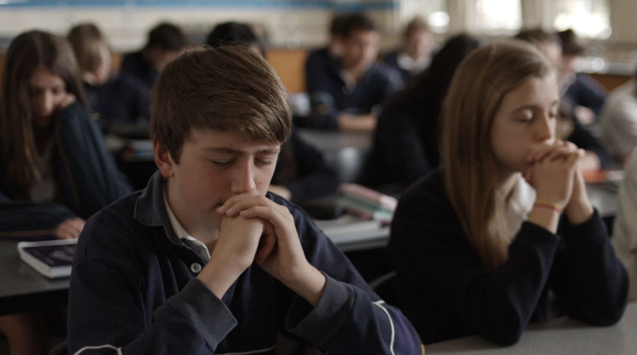 Pupils practice mindfulness in a classroom