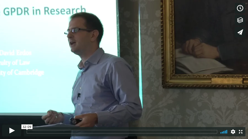 The impact of the GDPR in academic research - a Talk by Dr. David Erdos